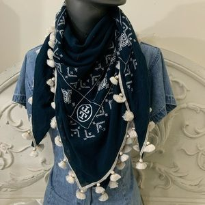 Tory Burch Tassel Embroidered Geometric Scarf